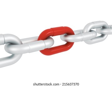 Red house symbol blocked with metal chains - 3d illustration render perspective deep of field