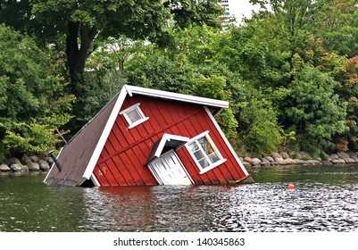 Red house under water in Malmo, Sweden
