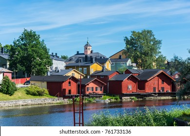 Red houses in the village of Porvoo, near Helsinki, Finland