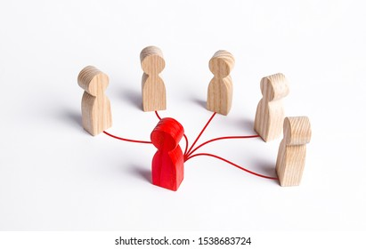 The red human figure is connected by lines with five persons. Business management. Spreading rumors. Leadership, teamwork. Cooperation and collaboration. Shares experiences and information.