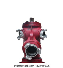 Red hydrant shaped head on a white background