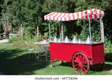 red ice cream cart in the garden.