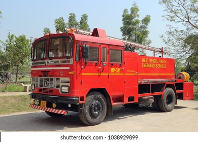 Red Indian fire engine or track. India, Mayapur, March 3rd, 2018