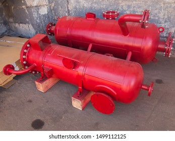 Red Industrial heat exchangers, tube shell and tube high efficiency.