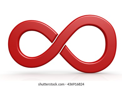 Red infinity sign on white background, 3D rendering