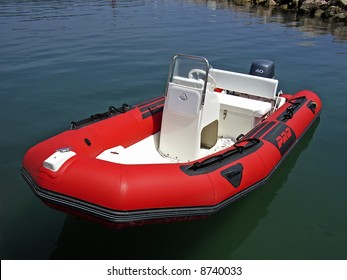 Red Inflatable Boat in Majorca