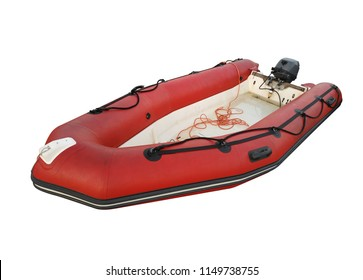 Red inflatable lifeboat isolated on white. Clipping Path included.