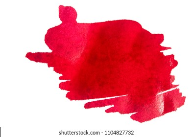 red ink background painted by brush on white paper