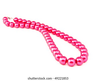 Red isolated beads over white background