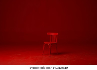 RED ISOLATED CHAIR, RED BACKGROUND