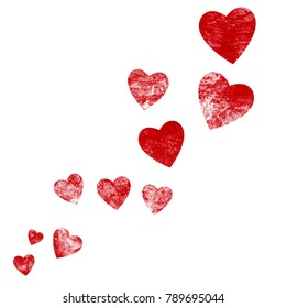 Red isolated grunge hearts for Valentine´s Day or Love Letter