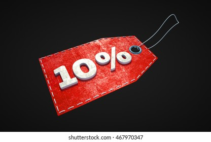 Red isolated price tag with 10 percent off discount, 3d illustration.