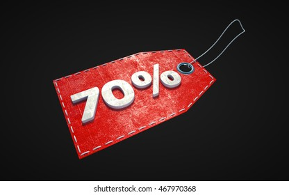 Red isolated price tag with 70 percent off discount, 3d illustration.