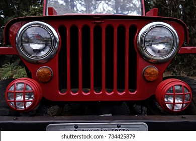 Red jeep - antique Jeep grille and headlights - antique jeep front photo