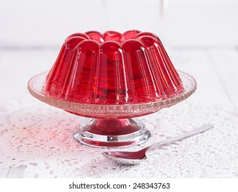 Red jello on a plate
