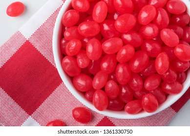 Red Jelly Beans in a Bowl