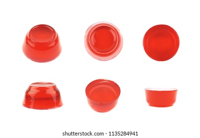 Red jelly dessert isolated