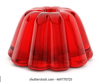 Red jelly isolated on white background. 3D illustration.