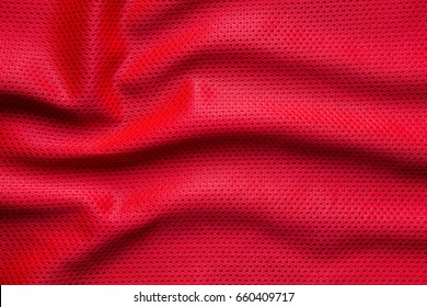 Red jersey fabric texture background, sports wear background.