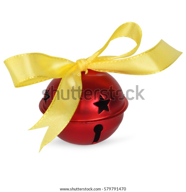 Red jingle bell with gold ribbon, isolated on white background