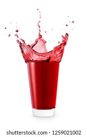 red juice or berry compote with splashes in glass isolated on white background