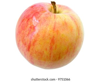 red juicy apple against the white background