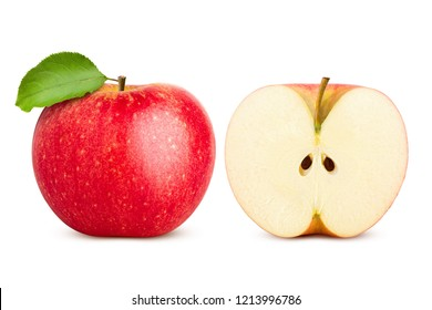 Red juicy apple isolated on white background, clipping path, full depth of field