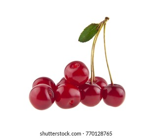 red juicy cherry isolated on white background