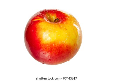 Red juicy fresh apple isolated on white