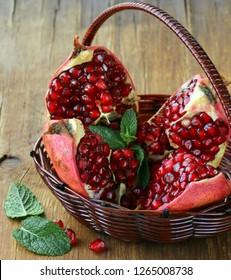 Red juicy ripe organic pomegranate fruit