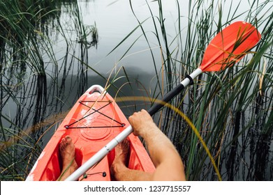 red kayak swimmer on the lake  near the shore in reed, first person view.