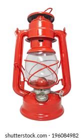 Red kerosene lamp from Czechoslovakia isolated on white background.