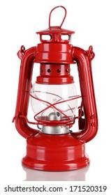 Red kerosene lamp isolated on white
