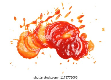 Red ketchup splashes isolated on white background, tomato pure texture, top view