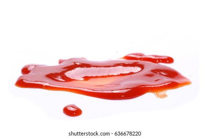 red ketchup splashes isolated on white background, tomato pure texture