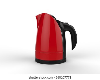 Red kettle with black handle
