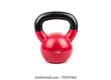 Red Kettlebell, Healthy Concept on White Background.