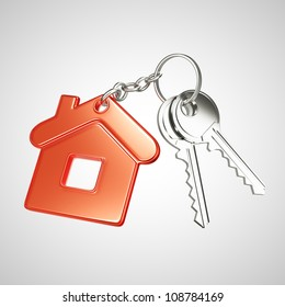 red key chain with key in form of home