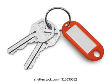 Red Key Chain Tag and Keys Isolated on White Background.