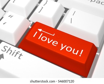 Red key with the text I love you on white keyboard - 3D Model