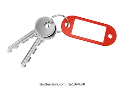 Red keyring with blank tag for text or number and two metal door keys isolated on white background