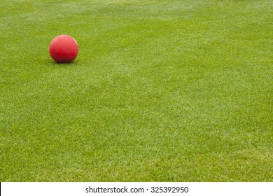 Red Kick Ball on grass field