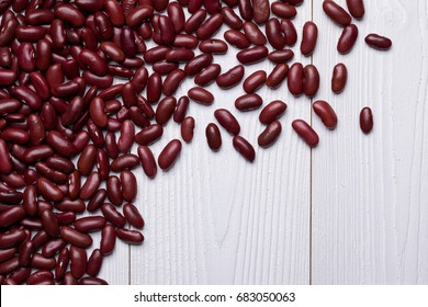 Red Kidney Bean on white wooden textured table, food background with copy space