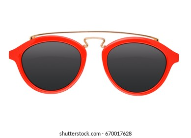Red kids sunglasses isolated on white background with clipping path