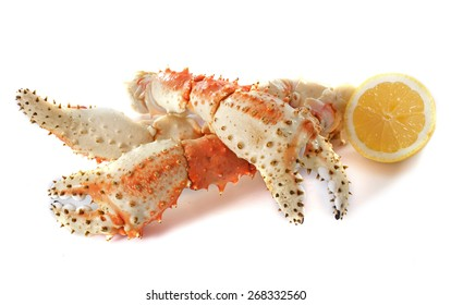 Red king crab in front of white background