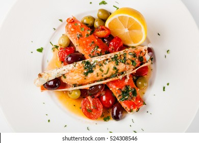 Red king crab legs on a plate