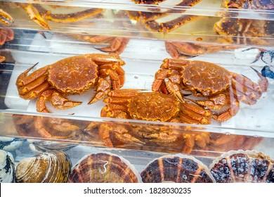 Red King Crab (Taraba crab) or Alaska King Crab  at seafood market in Hakodate, Hokkaido Japan