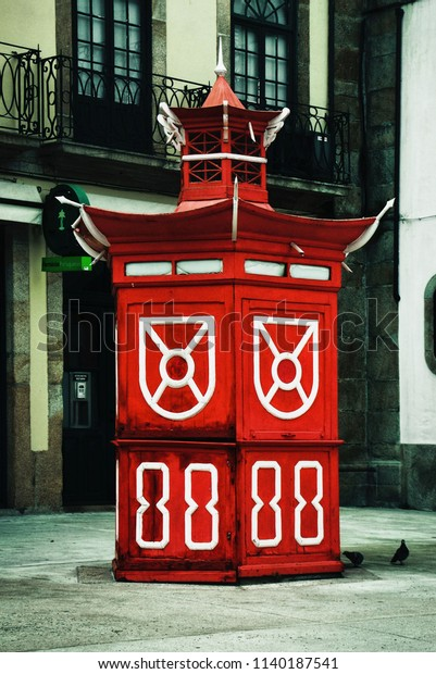 Red kiosk in Oporto, Portugal