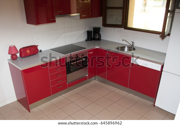 Red Kitchen All New Appliances Stock Photo (Edit Now) 645896962