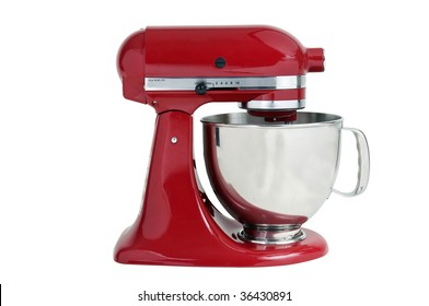 Red kitchen mixer on a white background